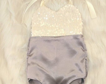 Sequin and satin baby romper, birthday outfit, photo outfit