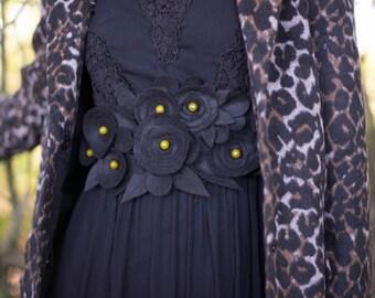 Cinturón de flores negro mujer,cinturón ancho de flores de fieltro, cinturón flores de invierno, cinturon de mujer, complemento para vestido