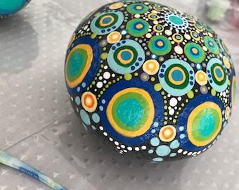 Mandala Rock Art, Beach, Pebble, Blue, Green