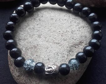 Buddha bracelet, wooden beads and Crackle Glass