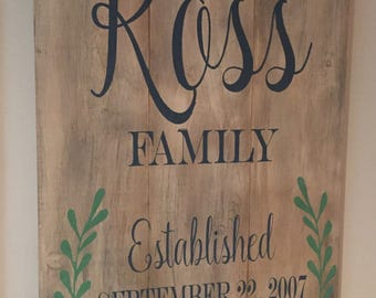 Family Established Custom Wood Sign - Wedding, Anniversary or housewarming gift