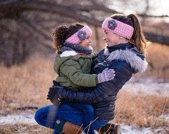 Mommy and Me Ear Warmers- Ear Warmer Set- Flower Ear Warmers- Ear Warmer & Cowl Set- Scarf Set