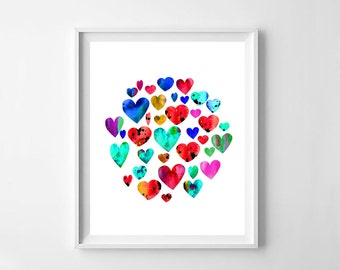 Heart, hearts print, heart watercolor, hearts, watercolor, heart print, watercolor print, watercolor art