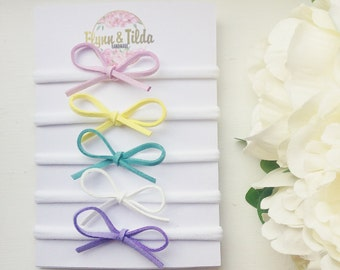 Dainty bow headband faux suede in pretty colours