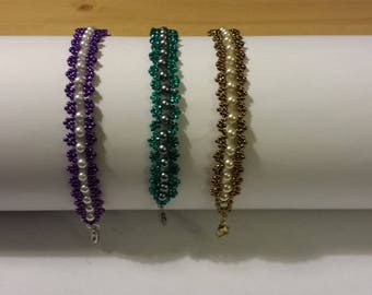 beaded seed bead chain with pearls