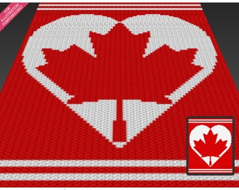 Canada Heart crochet blanket pattern; c2c, cross stitch; knitting; graph; pdf download; no written counts or row-by-row instructions
