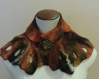 Gorgeous Cowl Neck Warmer Wet Felted