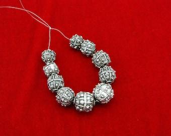 """Rare antique Yemeni jewish """"Yemenite"""" silver globe beads ( #1407 )"""