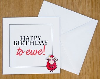 Sheep Button Card, Happy Birthday To Ewe Card, Cute Birthday Card, Quirky/Funny Card, Girls Birthday, Boys Birthday, Red/Blue/Yellow/Purple