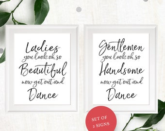 Wedding Bathroom Sign-Printable Calligraphy Ladies & Gentlemen Restroom Sign-Stylish Hand Lettered DIY Handwritten Beautiful and Handsome