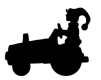 Elf on a tractor, silhouette, for cut-out, digital download, original design