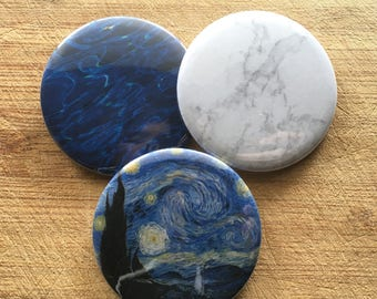 Artsy Tumblr Blue, stary night, marble, ocean pin-back button pack 2.25 inch