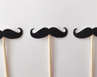 12 Glittery Mustache Cupcake Toppers-Baby Shower Cake Topper-Handmade Cake Topper-Cupcke