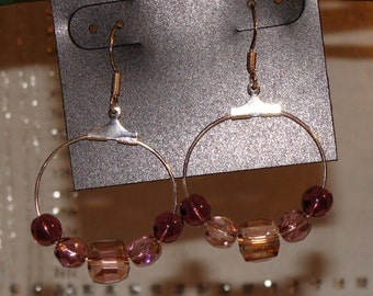 Pink & Purple Crystal and Glass Earrings