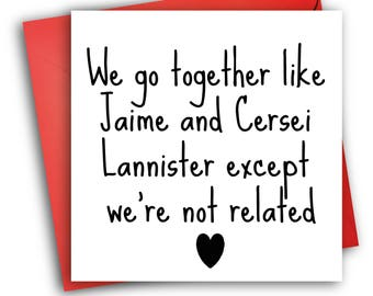 Game of Thrones Anniversary Card/ Greetings Card/Funny