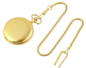 Pocket Watch Free engraving gift gold brushed