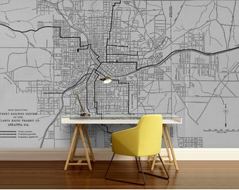 city map wallpaper, street wall mural, Atlanta map wallpaper,  self-adhesive vinly, Atlanta wall mural, city map wall mural, street map