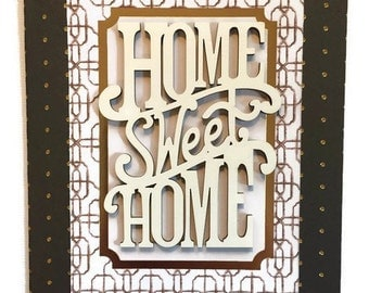 New Home Card, Welcome Home Card, Moving Card, Housewarming Greeting card, Handmade Card, Family embellished  card, Can be framed
