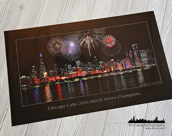 Chicago Cubs, World Series,  Skyline, Chicago Cubs Wall Art, Photography, baseball, Chicago Home Decor, Cubs Christmas gift, poster