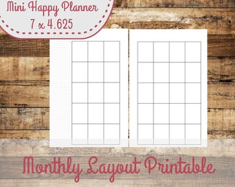 Monthly Layout Mini Happy Planner Size Insert, Mini Happy Planner Inserts- INSTANT DOWNLOAD