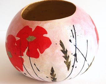 Mixed media painted gourd art, decorative bowl, abstract collage with four red flowers, boho decor
