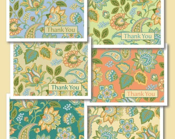 Set of Six Jacobean Floral Thank You Cards