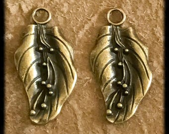 Beautiful Antique Brass Leaf Charms Drops Pair - 38mm -  B15