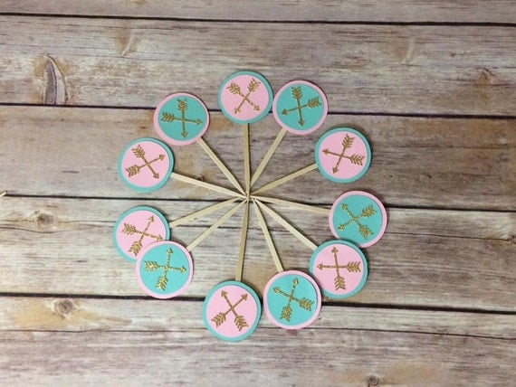 Boho Tribal Arrow Cupcake Toppers