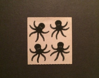 Sandylion vintage 80s very rare fuzzy brown back  black octopus stickers