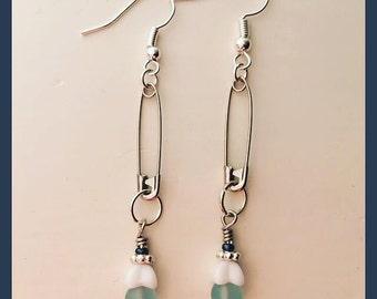 Frosty blue blossom earrings