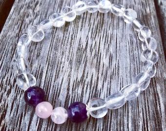 Clear Quartz, Rose Quartz & Amethyst crystal bracelet