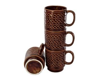 Vintage Stacking Coffee Mugs, Nesting Mugs, Stacking Mugs, Mid Century Modern, Coffee Mug, Coffee Cup, Rustic Mug, Mid Century Kitchen