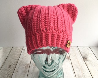 Hot pink pussyhat, pink pussyhat, pussyhat project, pink cat ears hat, crochet cat ear beanie, international women's day