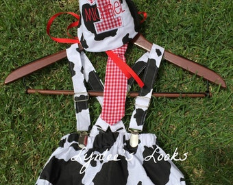 Farm cow cake smash outfit