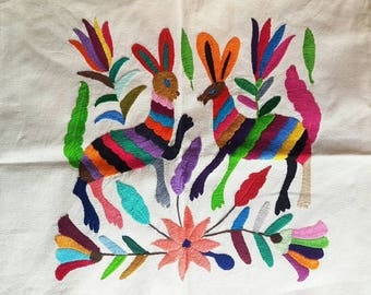 Mexican Otomi Embroidered, decorative pillow cover, mexican handicraft