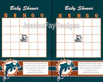 Miami Dolphins Baby Shower Bingo, Football, Wedding Shower, Graduation BINGO, DIY, Printable