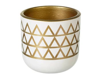 White and gold aztec vase