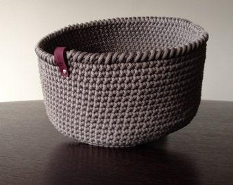 Light grey crochet basket