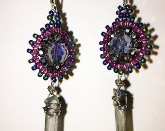 Beaded earrings with glass drop
