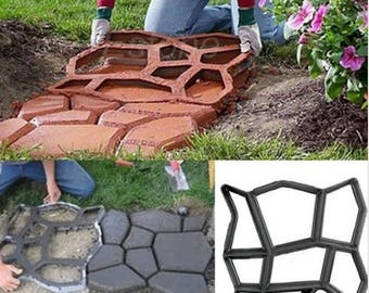 Pavement Mold DIY Plastic Path Maker Mold Manually Paving Cement Brick Molds Stone Road Concrete Molds Tool For Garden SHIPPING ~2weeks