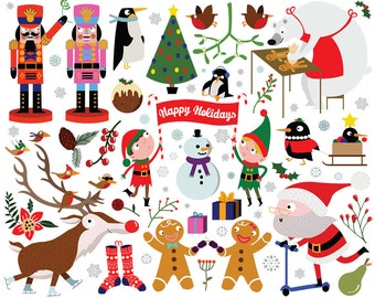 Christmas Holiday Clipart - Hand Drawn - Digital Download - Christmas Clipart