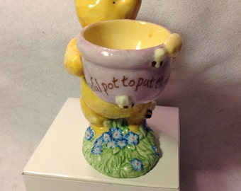 """6"""" Pooh holding an egg holder yyou supply egg Disney by Midwest of Cannon Falls"""