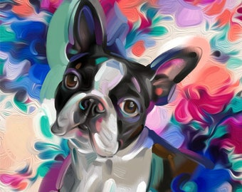 Joy | Boston Terrier | Charity Digital Print | MEDIUM | plus 3 bonus files