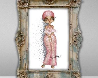 Rihanna Swarovski Crystal Fashion Illustration 12 x 18 Print