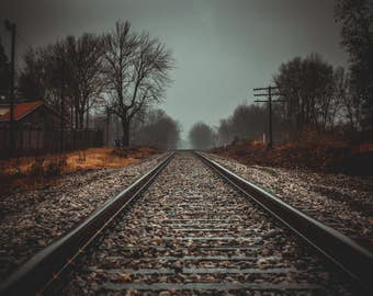 Railroad tracks on a foggy misty day