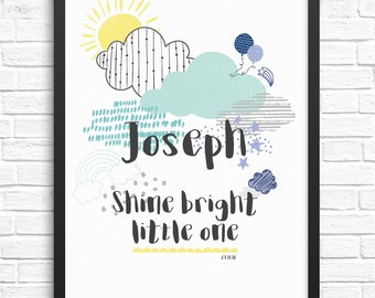 Customisable Personalised New Baby/Nursery Print/Childrens Wall Art