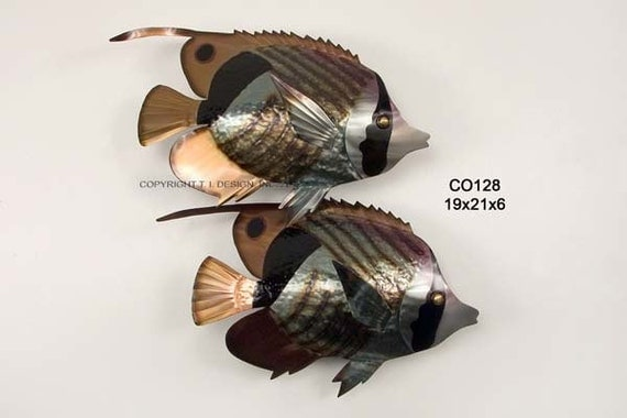 Striped Butterfly Fish Pair Metal Wall Art