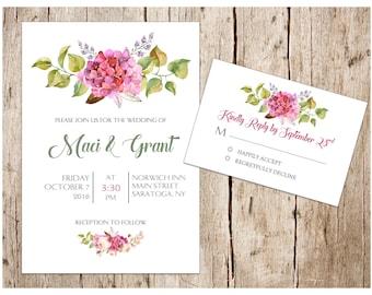 Peony/Hydrangea Wedding Invitation & RSVP Card, DIY/Printable