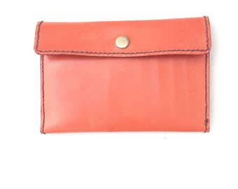 Gift for woman. Leather wallet with wallet purse and card holder. Stitched by hand. Light brown. Leather wallet for women