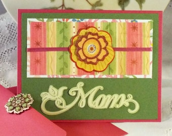 "MOM - handmade greeting card for her - Mother's Day, Birthday, Easter, or thank you;  is a unique, charming way to say ""love you"""